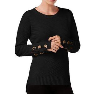 NWT Bar III High-Low Grommet-Detail Sweater BLACK